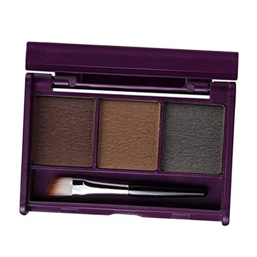 T TOOYFUL 3color Sourcils Poudre Sourcils Palette Cosmétique Maquillage Kit D'ombrage Brosse Miroir - 01