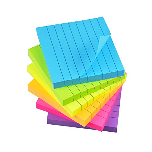 Sticky Notes 6 Bright Color Lined Sticky Notes Self-Stick Notes 3 in x 3 in, 100 Sheets/Pad, 6 Pads/Pack