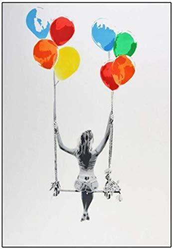 Crazystore Leinwand Kunstwerk 60x80cm ohne Rahmen Graffiti Banksy Art Bunte Ballon Mädchen Schaukel Kunst Poster und Druck Leinwand Malerei an der Wand für Home Decor