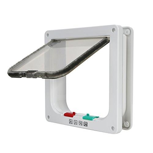 TKOOFN - Puerta basculante para gatos y perros, entrada y salida controlable, fabricada en material plástico ABS