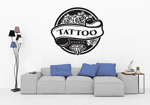 LKJHGU Tattoo Salon Vinyl Wall Sticker Diamond Rose Logo Tattoo Letters Inspire Home Gym
