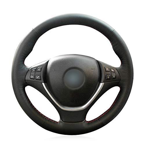 MEWANT Sew - Funda para volante para X5 E70 2006-2013, X6 E71 2008-2014 / E72 (ActiveHybrid X6) 2009-2010. Hecho de cuero auténtico/volante y accesorios para BMW X5 E70 X6 E7 E72