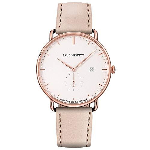 PAUL HEWITT Armbanduhr Grand Atlantic Line White Sand - Damen Uhr (Rosegold), Damenuhr mit Lederarmband in Beige, weißes Ziffernblatt