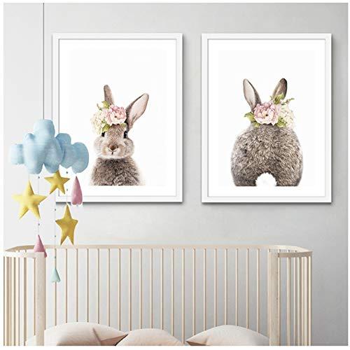 NIEMENGZHEN Mädchen Schlafzimmer Dekor Kaninchen Kinderzimmer Wandkunst Leinwand Poster und Druck Aquarell Blumen Tiermalerei Rosa Rosen Bild 23,6