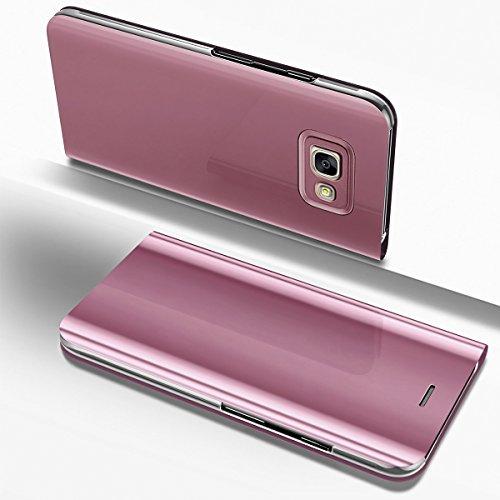 Ysimee Coque Samsung Galaxy A3 2017, Étui Folio à Rabat Clear View Case Couleur Unie Translucide Miroir Housse en PC Fonction Support Ultra Mince Flip Portefeuille Coque pour Galaxy A3 2017, Or Rose