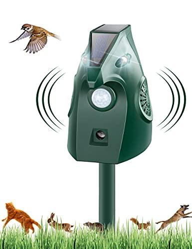 Repelente para Gatos, Solar Ultrasónico Repelente para Gatos Jardin Repelente de Animales con Sensor IR de Frecuencia LED para Gatos, Ratones,Perros, Zorros, Pájaros