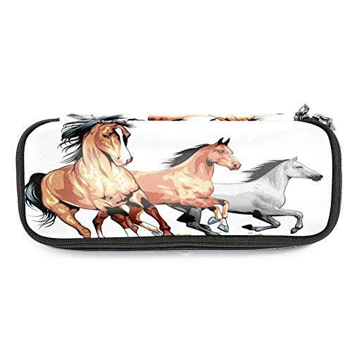 Xingruyun Laufendes Pferd 03 Leder Federmäppchen wasserdicht große Kapazität Stift Tasche langlebig Stifthalter Veranstalter Tasche stationäre Box für Jungen Mädchen 19x7.5x3.8cm