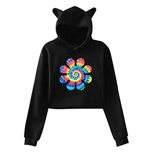 Hippy Tie Dye Flower Women's Cat Ear Hoodie Cute Long Sleeve Revealed Navel Sweatshirts Hoody XXL