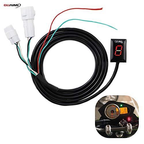 GUAIMI Motorrad Ganganzeige Wasserdicht 6 Speed LED Digitale Ganganzeige Plug in Adapter Kompatibel mit Y-amaha MT-01 MT-03 WR250R/X YZF-R6/S YZF-R1 FZ1 FZ6/R FZ8 - Rot