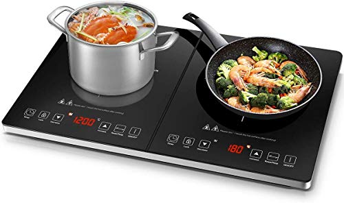 Electric Cooktop AMZCHEF Double Induction Cooker with 2 Burners, Ultra-thin Body, Independent Control,10 Temperature Levels, Multiple Power Levels, 1800W, 3-hour Timer,Safety Lock,Fashion Design
