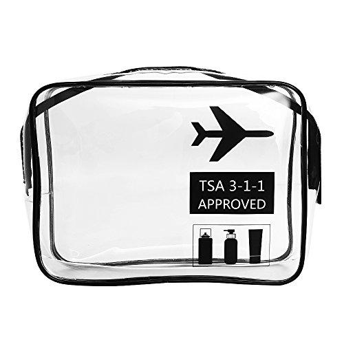 Trousse de toilette de voyage approuvée par la TSA - Transparente - Étanche - Organiseur de maquillage à l'aéroport - Sac de rangement pour produits de toilette, cosmétiques