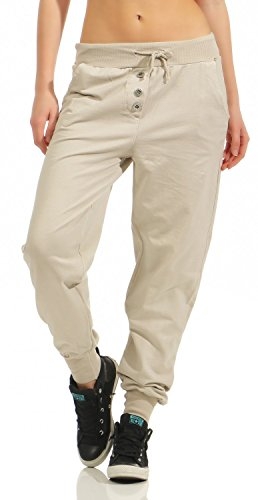 Damen Freizeithose Sporthose Sweat Pants lang (623), Grösse:M / 38, Farbe:Beige