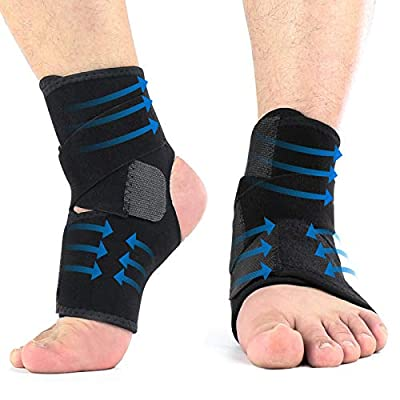 Ankle Brace, 2PCS Breathable & Strong Ankle Support for Sprained Ankle, Stabiling Ligaments, Prevent Re-Injury, Compression Ankle Support Brace with Adjustable Wrap