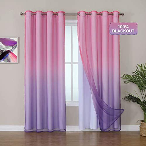Selectex Mix and Match Curtain - 100% Blackout Curtains with Sheer Ombre Curtains for Living Room Thermal Insulated Sun Blocking Grommet Drapes for Bedroom, 52x84, Set of 2 Panels, Rose Pink & Purple