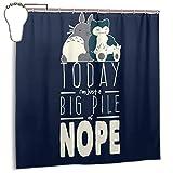 GSEGSEG Wasserdichter Polyester-Duschvorhang Snorlax Totoro, großer Haufen Nope Studio Ghibli Monster of The Pocket Print, dekorativer Badezimmer-Vorhang mit Haken, 182,9 cm x 182,9 cm