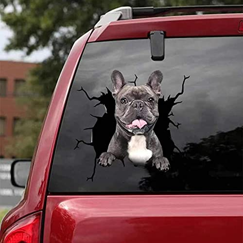 French Bulldog Crack Car Sticker, PVC Dogs 3D Car Window Clings Decal, Waterproof Funny Toilet Sticker Fridge Sticker for Dogs Lover 11.8x11.8 Inch