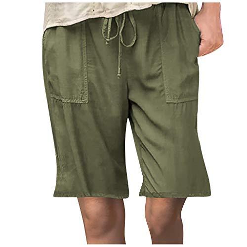 WUAI-Women Lounge Bermuda Shorts Plus Size Causal Drawstring Elastic Waist Loose Workout Sweat Summer Shorts with Pockets(Army Green,Large)