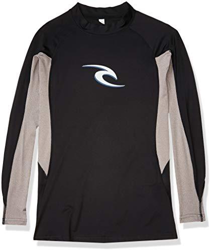 Rip Curl Men's Wave Uv Tee Long Sleeve Rashguard, Black/Black, Large
