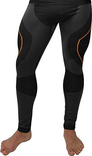Polar Husky® Herren-Funktionsunterwäsche, Lange Unterhose Farbe Schwarz/Orange Größe S/M
