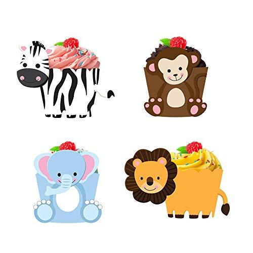 JINMURY 36 Stücke Tier Papier Muffin Backen Hüllen Cupcake Wrappers, Für Dschungel Safari Party Geburtstagsfeier Kuchen Dekoration