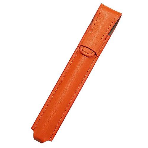 プルームテック ケース(オレンジ) Ploom TECH ケース カバー PU レザー スリム コンパクト 合皮 シンプル 無地 電子タバコ 保護 収納 ポーチ ホルダー