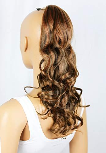 PRETTYSHOP Clip en las extensiones postizos ondulado de cabello pelo largo hechos de fibras sintéticas resistentes al calor mezclar marrón # 9H30 HC27-1