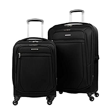 Samsonite 2-pc Spinner Luggage Set 27  Check-in & 21  Carry-on Super Light Weight 4 Wheel Suitcase -Black