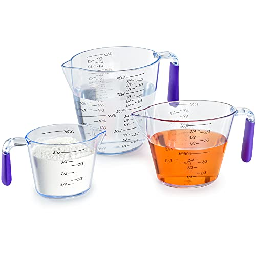 Plastic Measuring Cups Set, (3-Piece) Clear Measuring Jugs with Spout and Silicone Handle Double Sided Graduated for Kitchen Cooking Baking, 1/2/4 Cup Capacity