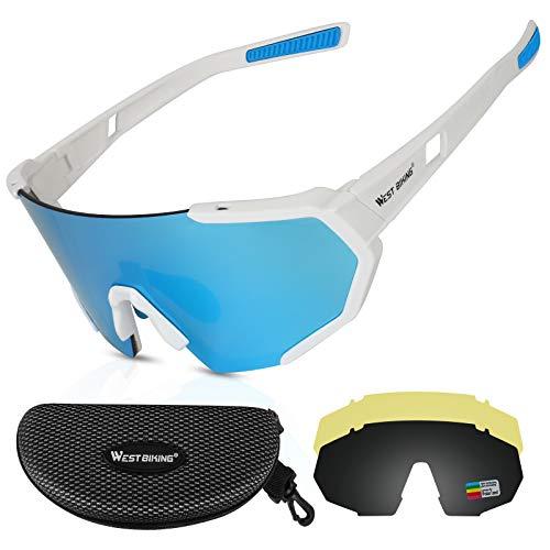 WESTLIGHT Polarisierte Sonnenbrille,DREI Verschiedene Objektive,Leicht rutschfest,UV400-Schutz Fahrradbrille Herren Damen,Anti-Glare Brille,Mehrfachschutz Fahren Outdoor-Sportbrille für Unisex