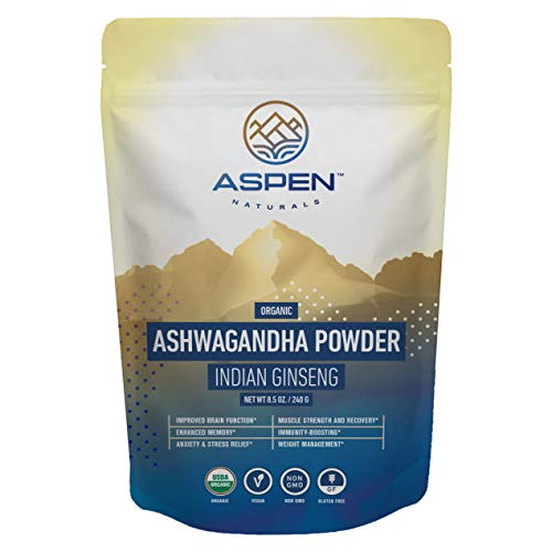 Aspen Naturals Organic Ashwagandha Powder - Ultimate Stress Relief Support - 100% Organic Ashwagandha Root Powder, from India, Premium Immune, Adrenal, and Sleep Support