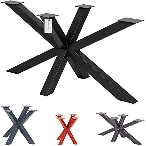 HOLZBRINK Tischbeine aus Metall, Tischgestell für Esstisch Gartentisch Konferenztisch, 150x70x72 cm (LxBxH), Schwarz, 1 Stück, HLT-19-J-EE-9005