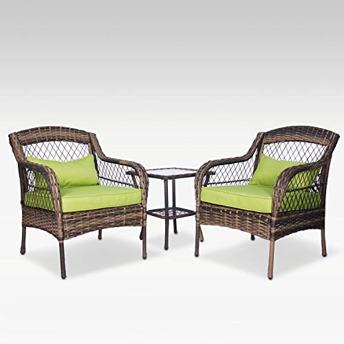 FUNKOCO 3 Pieces Patio PE Rattan Conversation Chair Set, Outdoor Furniture Set with Water-Proof Cushion&Coffee Table for Garden,Backyard and Porch