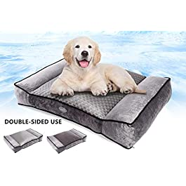 Pecute Large Dog Bed(102x69cm), Shredded 20 cm Memory Foam Orthopaedic Pet Bed for Good Support,Warm Plush & Cool Silk Double Sided Design Four Seasons Available,Removable Cover Washable Easy to Clean