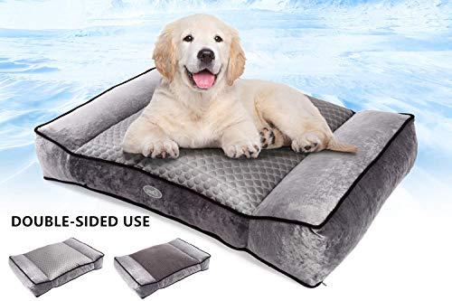Pecute Camas para Perros Mascotas Pequeñas y Medianas de Dos Caras Colchón Perro Lavable Suave, 74X48X15cm Almohadas para Camas para Perros (M, Gris)