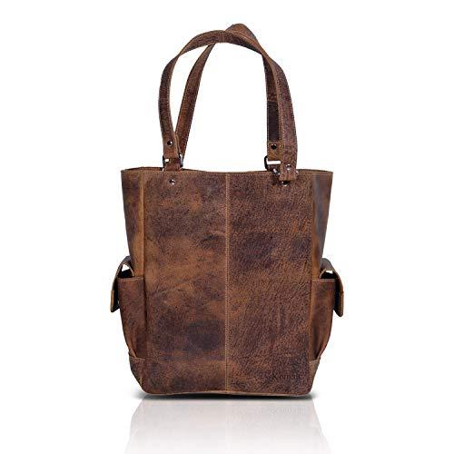 KomalC Genuine Soft Chicago Buff Leather Tote Bag Elegant Shopper Shoulder BagSALE (Grace)