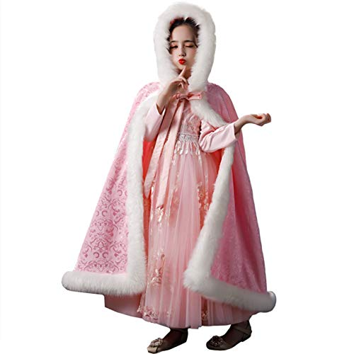 Cape con Capucha de la Princesa de las Nias Capa de nias otoo e invierno disfraz engrosado sper hadas estilo estilo rosa capa capa Robe de Fiesta de Lujo de Manto ( Color : Pink , Size : 120cm )