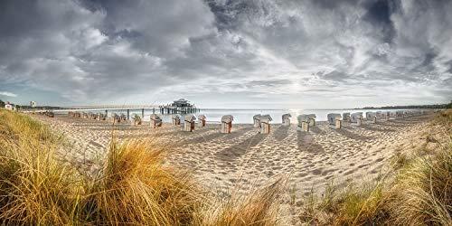 Voss Fine Art Photography Leinwandbild 160 x 80cm. Timmendorfer Strand mit Teehaus und Strandkoerben im Sonnenaufgang. Panorama Foto als Leinwand Wandbild.
