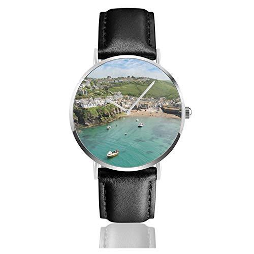 Reloj de pulsera minimalista de cuarzo con correa de cuero de Port Isaac Cornwall