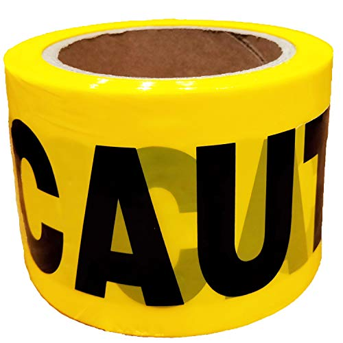 KINGPLAST Yellow Caution Tape Roll - 3 Inch 300feet Non-Adhesive Yellow Black Barrier Warning Tape for Safety Quarantine Danger Construction Crime Scene