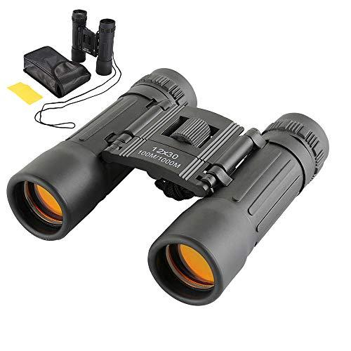 12x30 Prismáticos Binoculares Plegable,Mini Prismáticos Portátiles Compactos Ligeros para Adultos y Niños con Vidrio Óptico y Película FMC Verde
