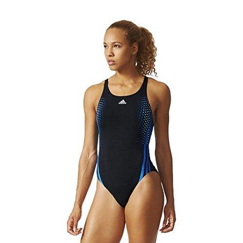 adidas ADC 1PC - Bañador para Mujer, Color Negro/Azul, Talla 34