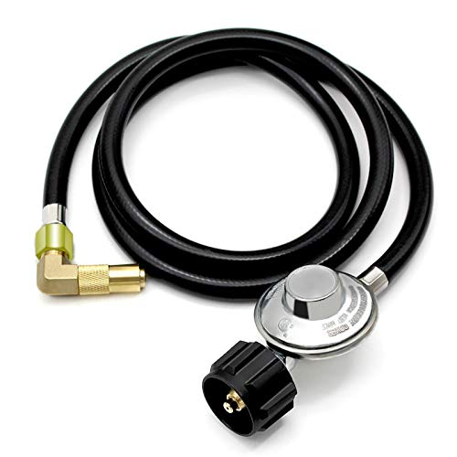 """MCAMPAS Propane Regulator and Hose Universal Grill Regulator Replacement Parts, QCC1 5 Feet Hose and Elbow Fitting Adapter for 17"""" and 22"""" Blackstone Tabletop Camper Grill"""