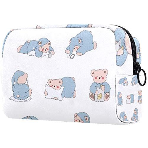 Bolsa de brochas de maquillaje personalizables, bolsas de aseo portátiles para mujeres, bolso de cosméticos, organizador de viaje, pijamas de oso