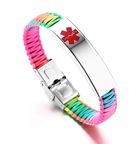 JF.JEWELRY Medical ID Alert Bracelet for Women Nylon Braid Bracelet Adjustable Free Engraving Rainbow
