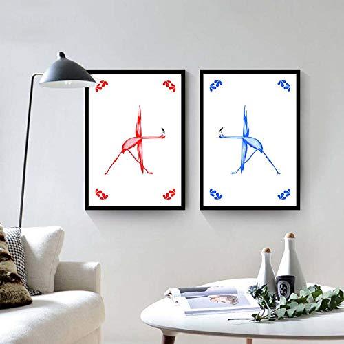 WADPJ Nordic modern gedrukte poster modulaire afbeeldingen canvas flamingo yoga action chart schilderij muurkunst woonkamer huis decoratie 40 x 60 cm x 2 st. Geen lijst