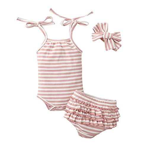 Ropa de verano para bebé recién nacido bebé niña niño 3 piezas acanalado rayas conjunto sin mangas correa mono volantes pantalones cortos diadema, rosa, 12 Meses
