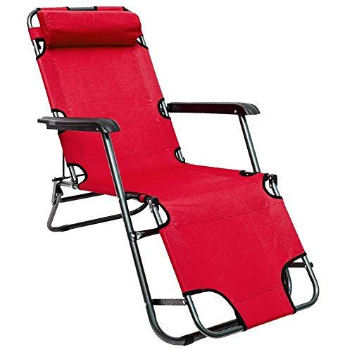 AMANKA Chaise Longue inclinable et Pliante Transat de Jardin 153 cm + appuie-tête Amovible + Repose-Jambes et Dossier inclinable Rouge