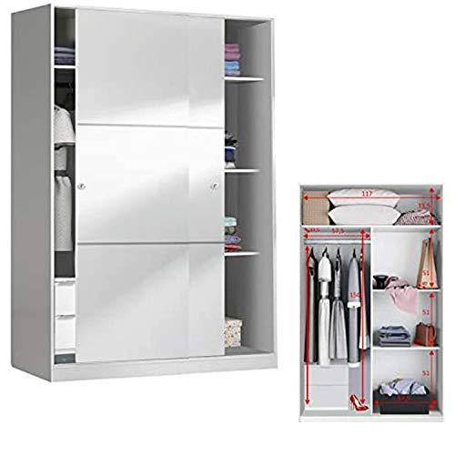 HABITMOBEL Armario con estantes Oficina 2 Puertas correderas 120 con Fondo reducido de 50 cm (CAJONERA INCLUIDA)