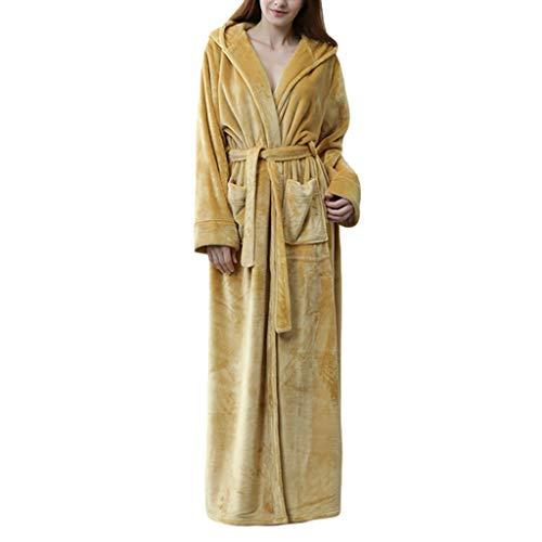 Albornoz Mujeres Albornoz Gracioso Robas Cálidas Corral Fleece Nightgown Lujo para Dormitorio de Viajes Inicio (Color : Yellow, tamaño : X-Large)