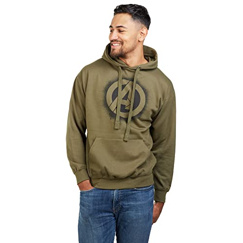 Marvel Avengers Stencil Logo Hood Sudadera con Capucha, Verde (Olive Green Old), L para Hombre